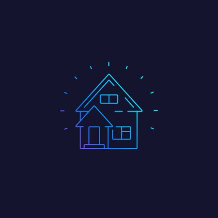residential house vector line icon Illustration