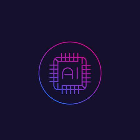 AI chipset, line icon Illustration