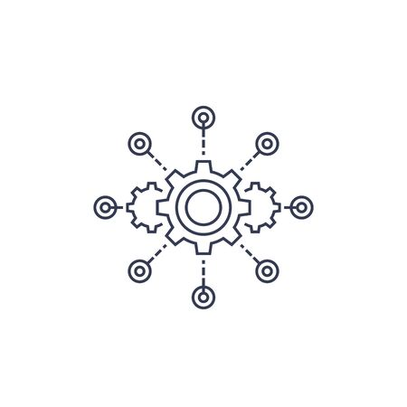 software integration, test automation line vector icon