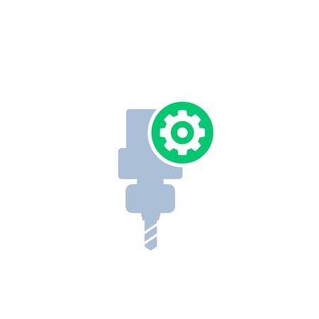CNC machine service, vector icon