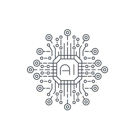 Artificial intelligence, AI technology, line icon 일러스트