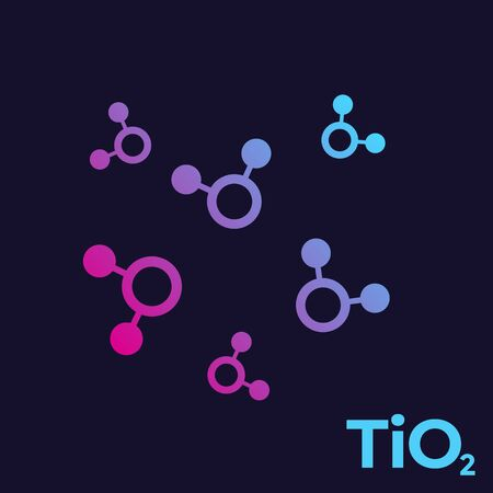titanium dioxide, TiO2 molecules Illustration