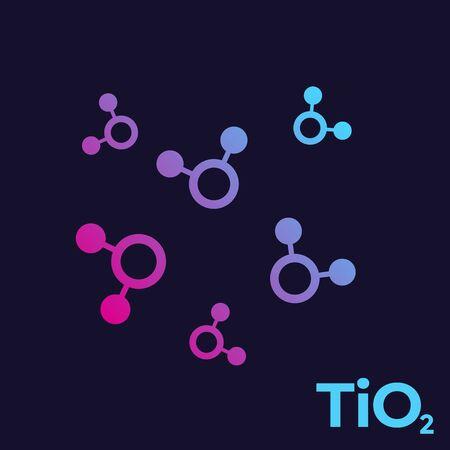 titanium dioxide, TiO2 molecules Çizim