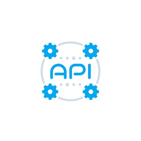 API icon, application programming interface, software integration Ilustracja