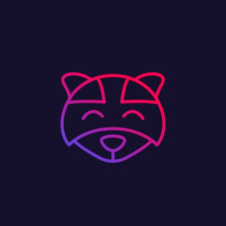 raccoon vector, line icon