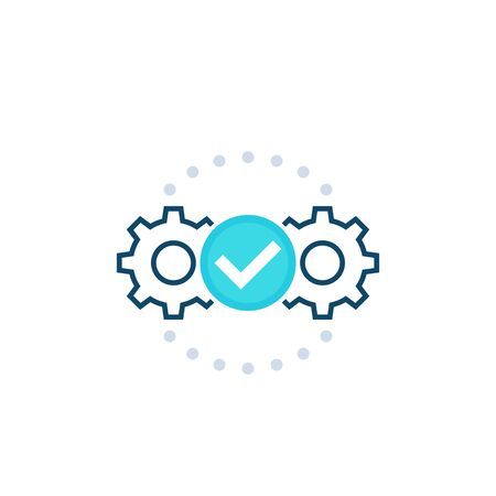 Execution vector icon with cogwheels Stock Illustratie