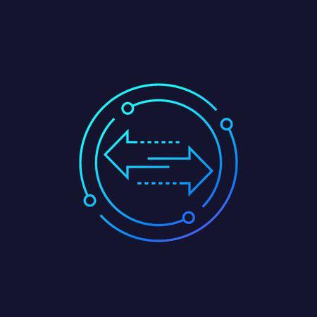 exchange vector line icon with arrows Illusztráció