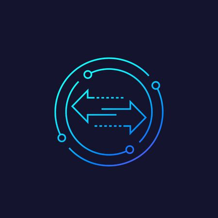 exchange vector line icon with arrows Illustration