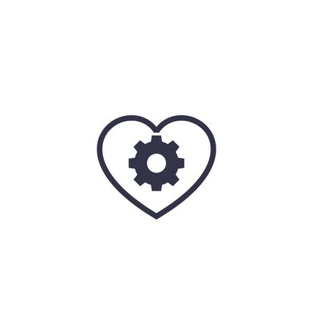 biotechnology icon with heart and cogwheel