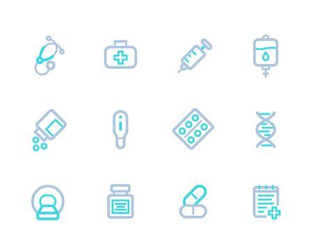 Healthcare, medical vector line icons Ilustração