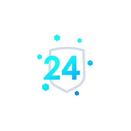24 hour protected vector icon Stock Illustratie