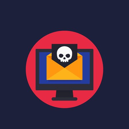 email with virus, spam vector icon