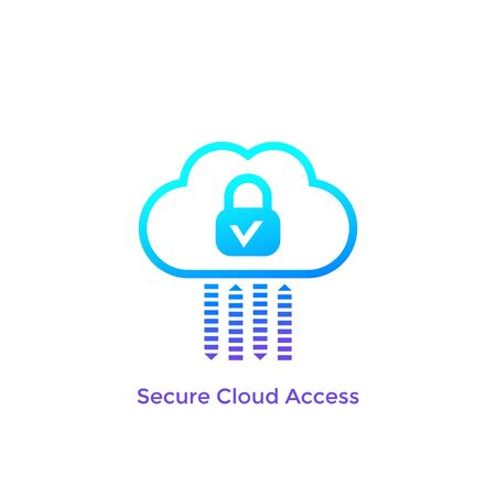 Secure cloud access, safe, protected hosting vector icon Stock Illustratie