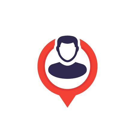placement icon, man on pin Иллюстрация