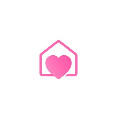 home with heart vector logo design concept