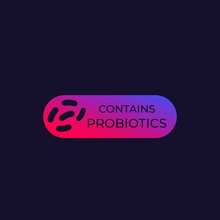 contains probiotics label, vector