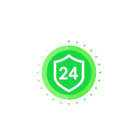 24 hour protected icon Stock Illustratie