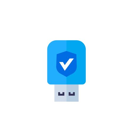 usb stick, data protection, security key vector icon on white, flat style Ilustrace