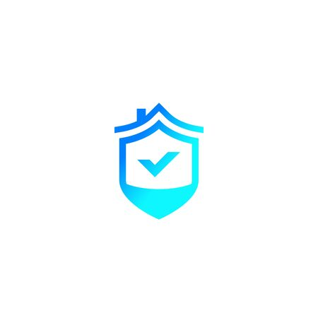home security logo with house and shield Stock Illustratie