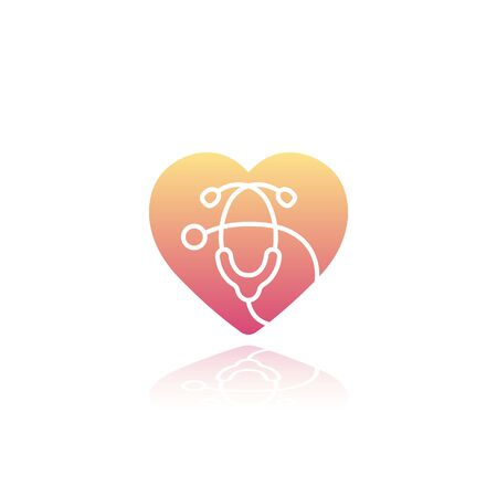 Heart with stethoscope icon on white