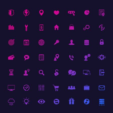 49 icons for web, apps and infographics, universal, business, commerce, technology