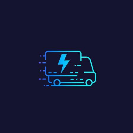electric van, delivery truck vector line icon