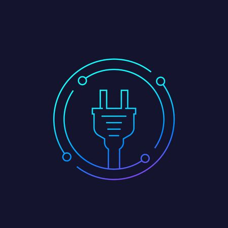 electricity icon with electric plug, linear vector