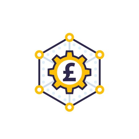 money management, finance concept vector icon with pound  イラスト・ベクター素材