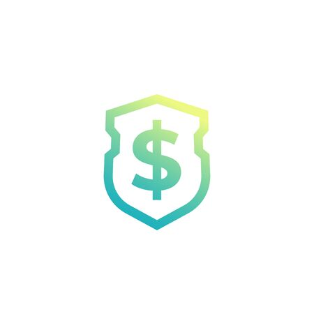 Shield and dollar vector logo