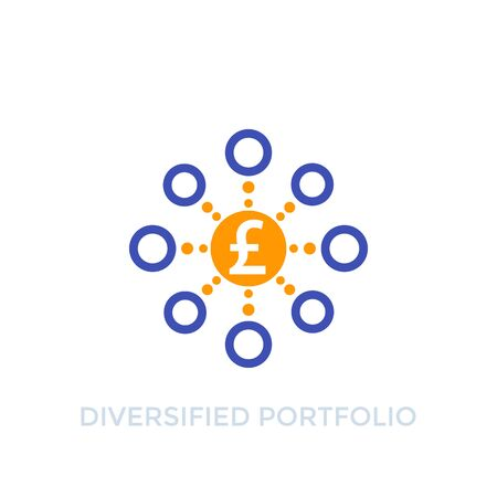 Diversified portfolio icon with pound  イラスト・ベクター素材