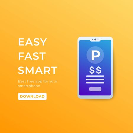 parking pay with app in smartphone, vector