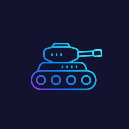battle tank vector line icon