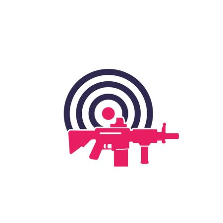 target and rifle, vector logo
