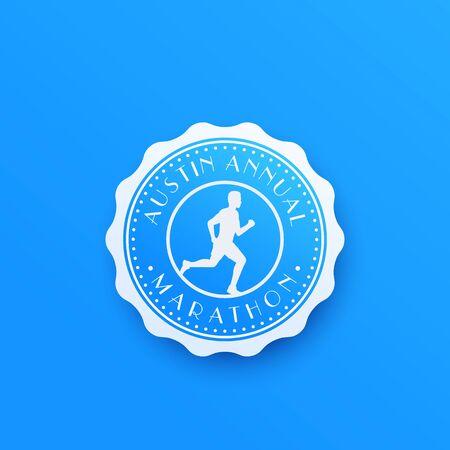 Marathon badge with running man, round vector logo