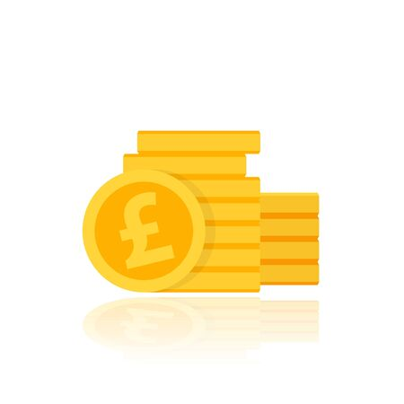 Pound coins stack, vector