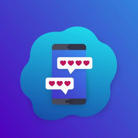 Online dating app and chat vector icon with smartphone