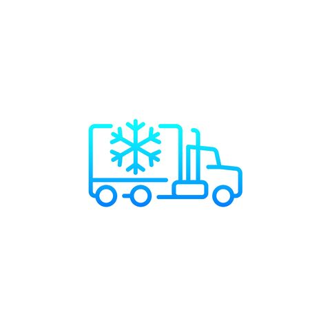 Icône de camion frigo, vecteur de ligne