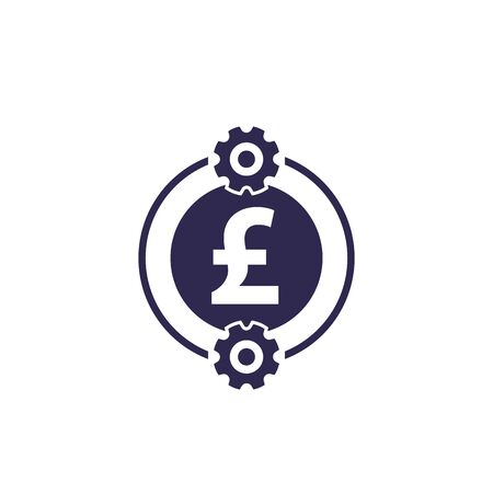 cost optimization, efficiency, financial icon with pound Stock Illustratie