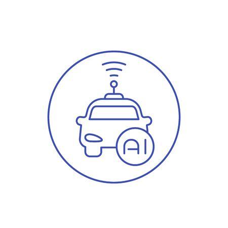 autonomous car with AI icon, linear  イラスト・ベクター素材