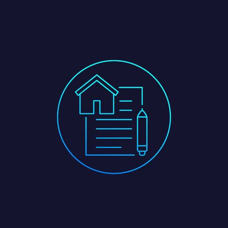 lease contract vector icon, linear