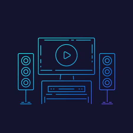 home theater, linear vector icon