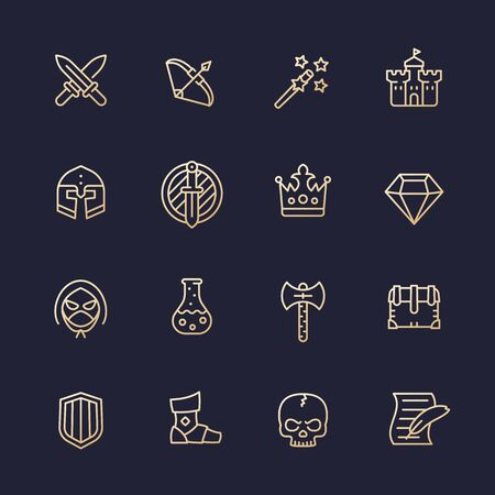 Game line icons set, RPG ui, fantasy, knight, magic wand, swords, bow, castle, helmet, armor Illustration