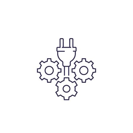 electric plug with gears vector line icon