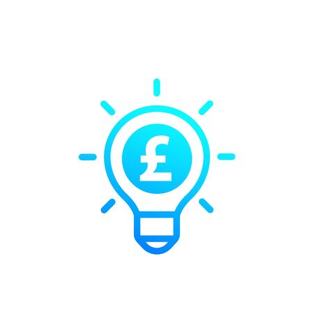 Idea is money icon with pound, vector