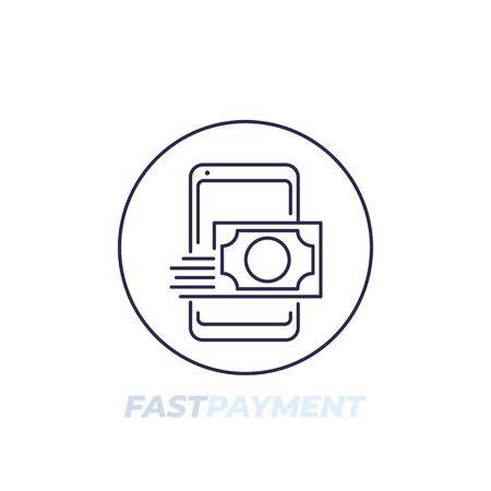 fast money transfer line icon