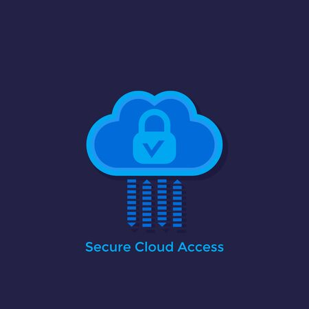 Secure cloud access, protected hosting vector flat icon