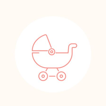 baby carriage icon on white, line vector Иллюстрация