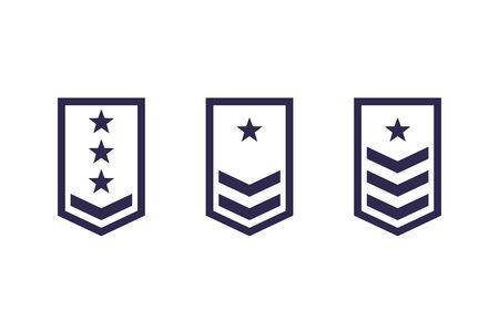 Militärischer Rang, Armee-Epauletten-Vektor-Set Vektorgrafik