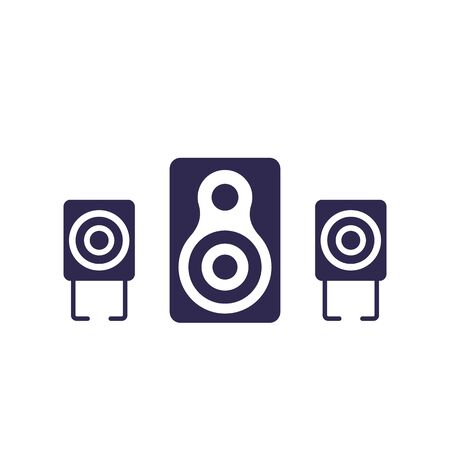 audio speakers, 2.1 audio system on white, vector