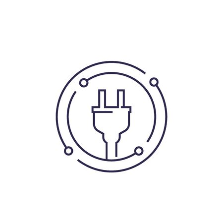electricity vector line icon with electric plug
